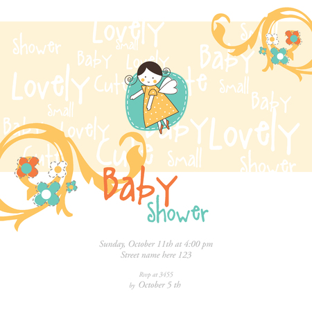 Baby Shower Invitation template Graphic design element. Illustration
