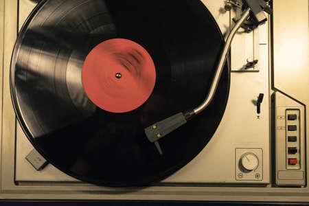 Vintage vinyl player close up top view. Vinyl record