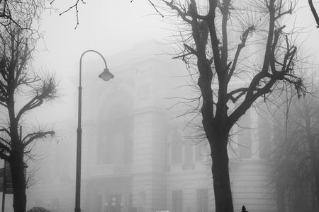 Abend Stadtlandschaft. Neblige Straße der Altstadt mit Vintage-Stand und Bäumen Standard-Bild