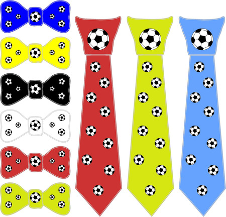 informal clothes: collage ties and the bow tie for a football player in different colors on a white background