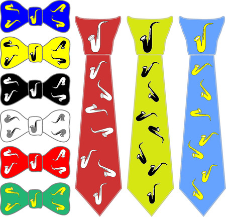 informal clothes: collage ties and the bow tie for saxophone in different colors on a white background