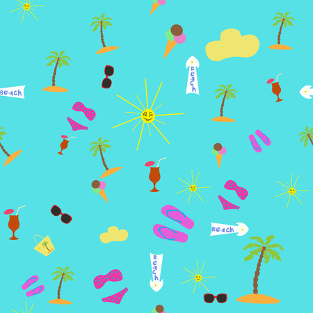 beach holiday: Seamless pattrern items with a beach holiday Illustration