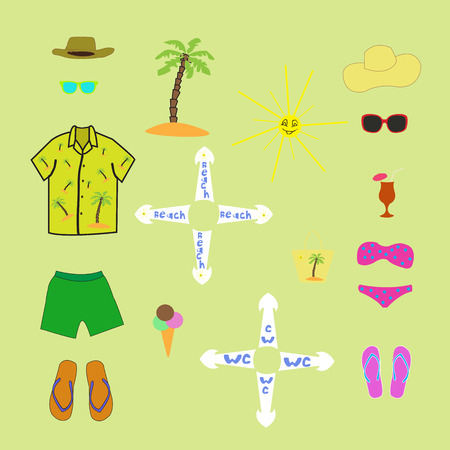 sunglasses recreation: collage of objects summer vacation Illustration
