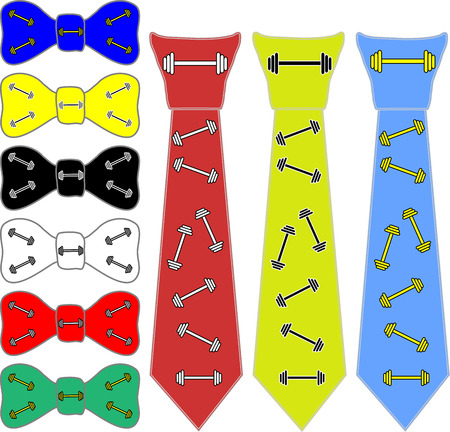 glaring: collage ties and tie Butterfly in different colors on a white background for the bodybuilder