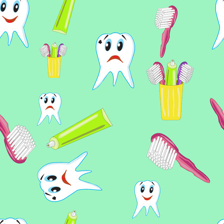 Seamless pattern with funny teeth with toothpaste and a toothbrush