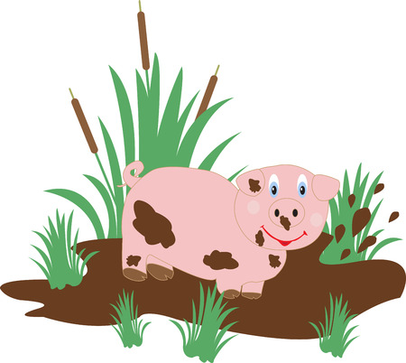 swamp: funny pig in a swamp on a white background Illustration