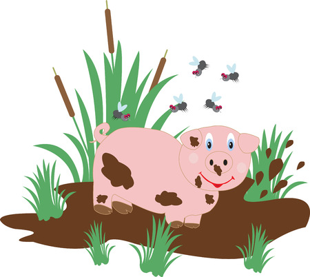 swamp: Funny pig in the swamp and flies Illustration