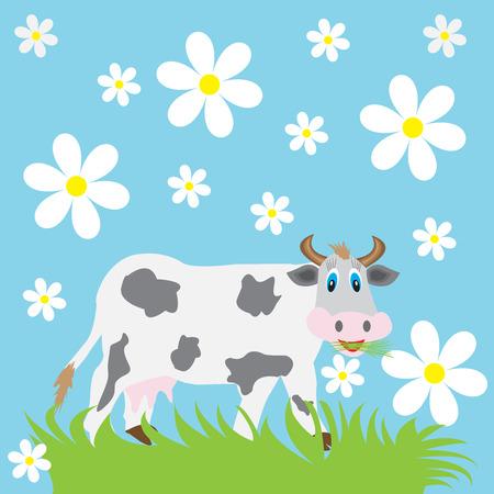 pâquerette: drôle de vache mange de l'herbe sur un fond bleu avec les marguerites Illustration