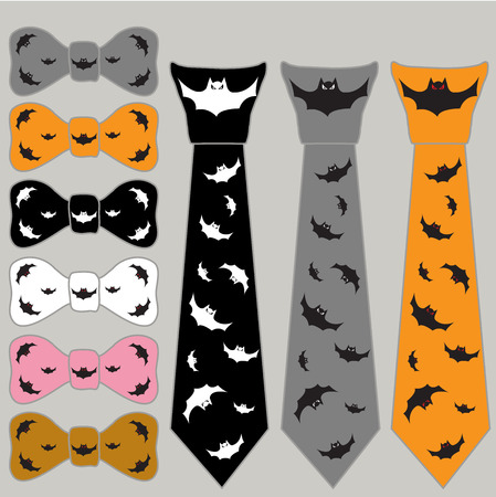 glaring: collage ties and the bow tie for Halloween with bats in different colors on a gray background