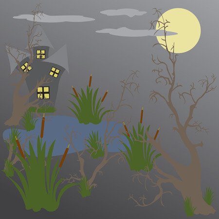 swamp: house in the swamp at night Illustration