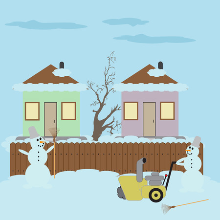 Snowman with a broom and hand snowplow concept of innovation