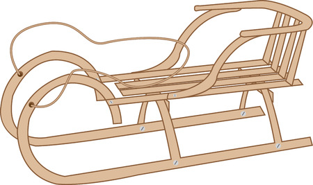 luge: wooden sleigh on a white background