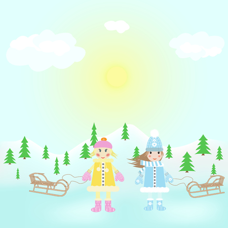 sled: two girls playing with a sled on the forest background Illustration