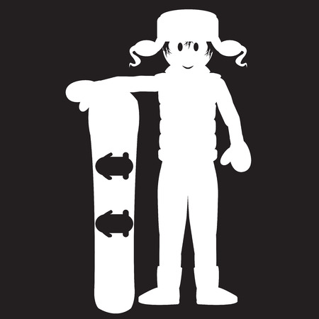 winter clothes: Stencil guy in winter clothes hand holding a snowboard Illustration