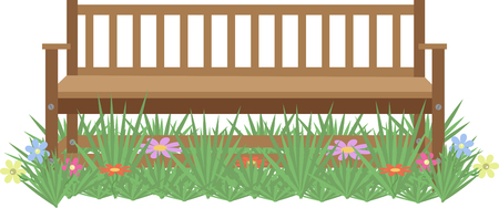 wooden bench: wooden bench on the lawn with flowers on a white background Illustration