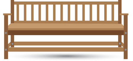 chair garden: wooden bench with shadow on a white background