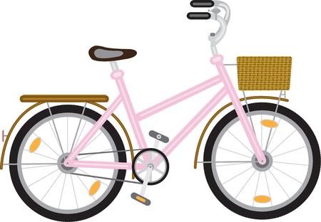 fiets voor een meisje met een mandje aan het roer van roze