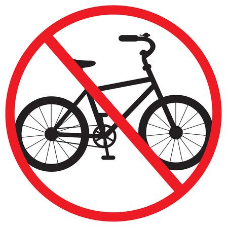 illegal zone: bike forbidden sign on a white background Illustration