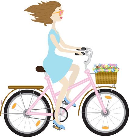 meisje in een blauwe jurk op een roze fiets met een mandje van wilde bloemen Vector Illustratie