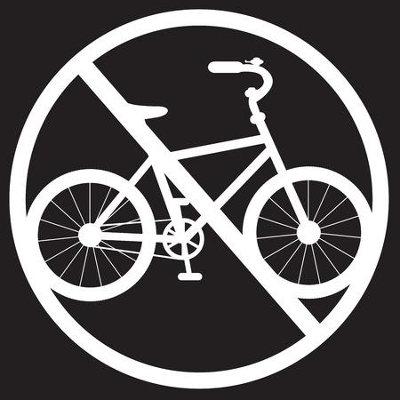 illegal zone: transparent stencil bike denied on a black background