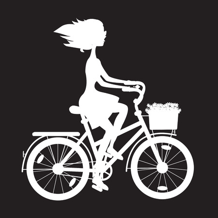 stencil girl in a bicycle with a basket of wild flowers