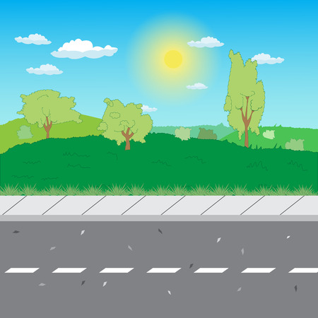 suburban road with a sidewalk on field background Illustration