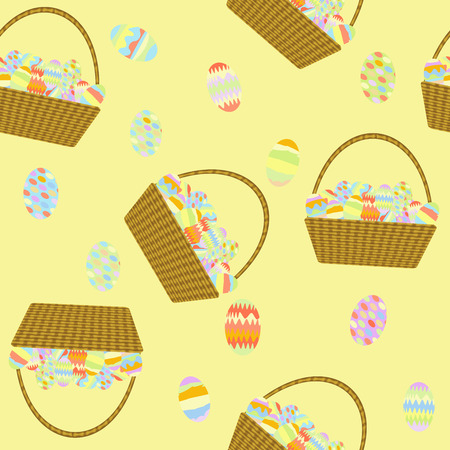 wicker basket: seamless pattern wicker basket with handle is filled with Easter eggs on a yellow background
