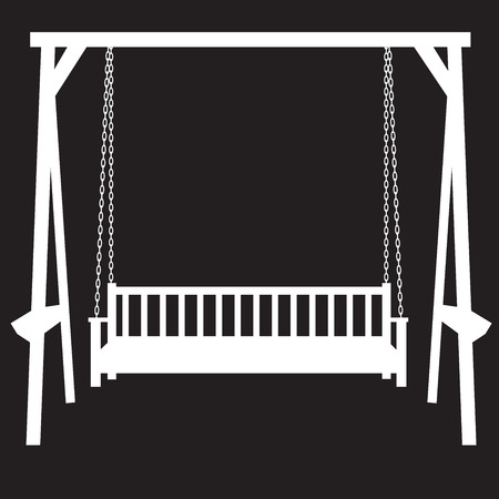 front porch: stencil bench swing suspended on chains on a black background Illustration