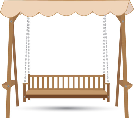 patio chair: wooden bench swing with a roof made of cloth hanging on chains Illustration