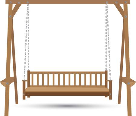 houten bank schommel opgehangen aan kettingen op een witte achtergrond Stock Illustratie