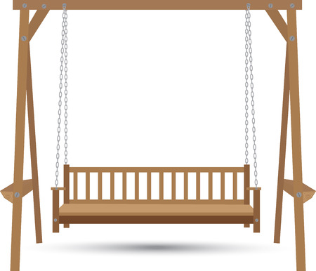 patio furniture: wooden bench swing suspended on chains on a white background