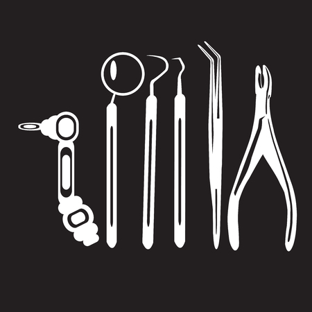 tweezer: stencil dentist tools on a black background