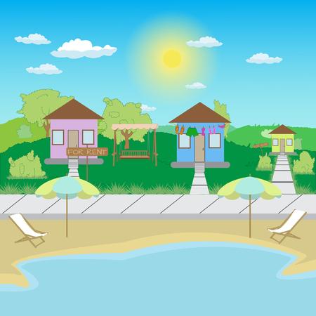 beach houses for rent on the lake near the beach 向量圖像