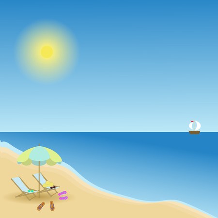 under view: seascape view from the beach, lounge chairs under an umbrella, scattered clothing Illustration