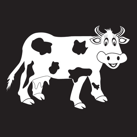stencil: stencil funny cow on a black background