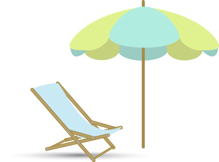 a chaise longue beach umbrella on a white background