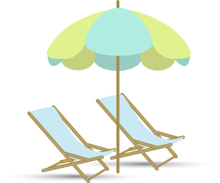 parasol: chairs and parasol on a white background Illustration
