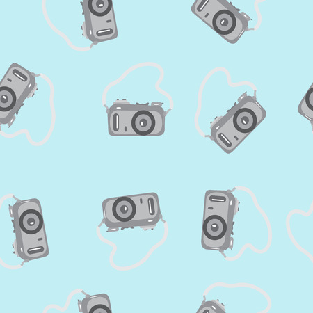 strap on: Seamless pattern camera with a strap on a blue background