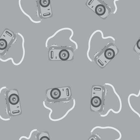 strap: Seamless pattern camera with a strap on a gray background