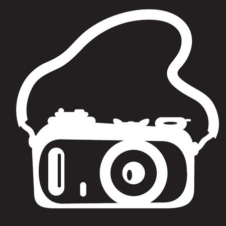 strap: stencil camera with a strap on black background Illustration