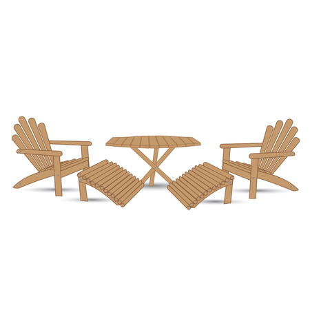 patio set: garden table and two garden chairs with footrests on a white background