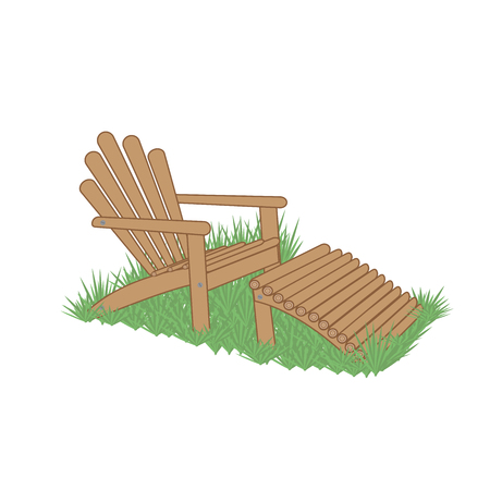 wooden garden chair with ottoman in the grass Illustration