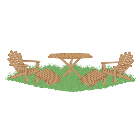 porch chair: wooden garden table and garden chairs with foot rests on a green lawn Illustration