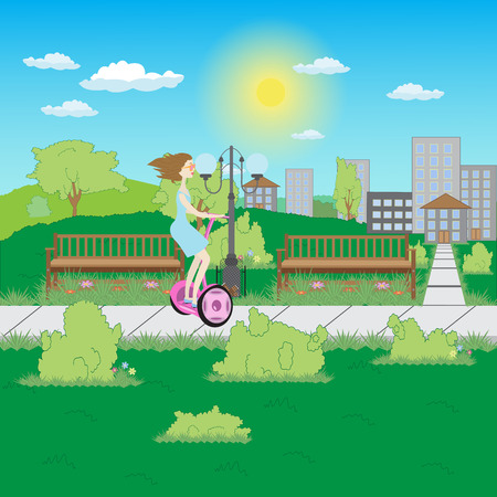young brunette woman ride on a pink electric scooter in the park Illustration