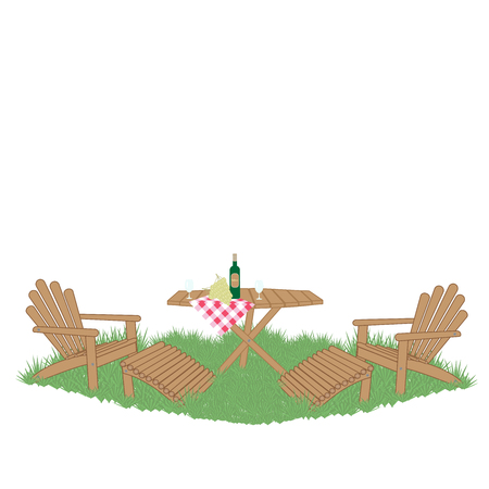 wine and grapes on a wooden garden table on the lawn Illustration