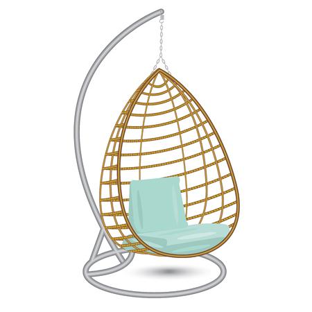 rieten opknoping stoel swing opknoping op de ketting op het metalen rek met blauwe kussens