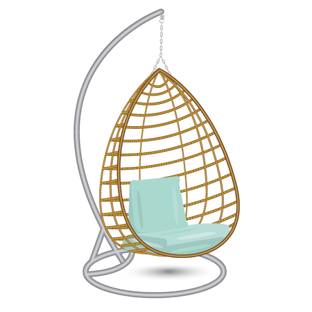 wicker hanging chair swing hanging on the chain on the metal rack with blue pillows Illustration