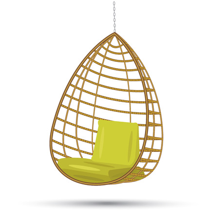 wicker hanging chair swing hanging on a chain with green cushions