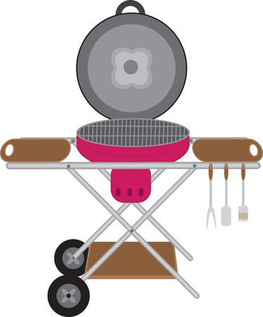Barbecues round mobile on wheels with space for cooking