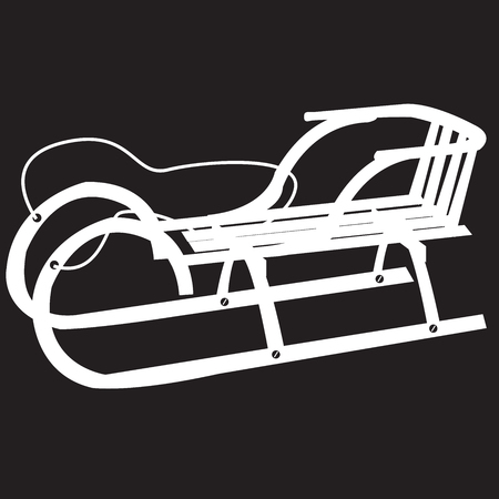 stencil sled on a black background Illustration